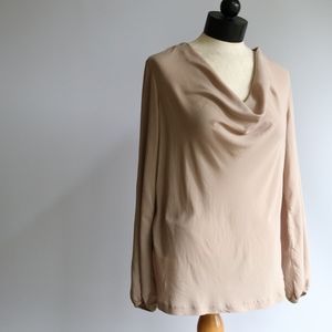 Theory Cowl Blouse Tan Size Medium